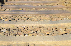 Railroad sleepers and stones Royalty Free Stock Image