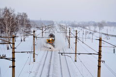 On the railroad. Snow purge Royalty Free Stock Photo