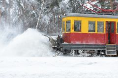 Railroad snow removal equipment during a snowstorm royalty free stock images
