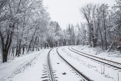 Railroad in snow under blue sunny sky Royalty Free Stock Photo