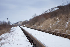 Railroad in snow Royalty Free Stock Photos