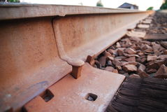 Railroad spike. A railroad spike close up, shot in landscape stock photography
