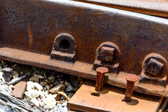 Railroad spike sticking up Royalty Free Stock Image