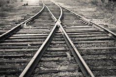 Railroad Split. A view of tracks that split in two directions in Springfield, Ohio Stock Images