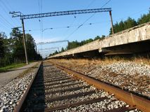 Railroad on the station. Railroad and platform near the train station Stock Images