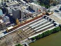 Railroad station along the Yarra river royalty free stock images