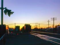 Railroad station at sunset in Arizona Stock Image