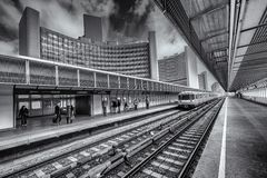Railroad Station in City Royalty Free Stock Photos