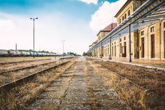 Railroad station in city of Vrsac Serbia. Empty railroad train station in city of Vrsac Serbia, Europe Stock Photography