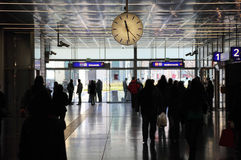 Railroad station with clock, people in Vienna Royalty Free Stock Photos
