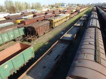 Parking freight cars at the railway station royalty free stock photo