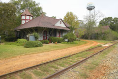 Railroad station at historic Andersonville Georgia, adjacent to Andersonville National Park for Civil War Prison Royalty Free Stock Images