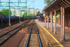 Railroad station in Karlsbad, Sweden Royalty Free Stock Photos