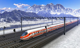 Railroad station in mountains with speed train Royalty Free Stock Photo