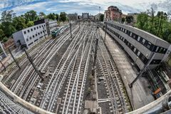 Railroad station with multiple roads intersecting and converging. In Milan, Italy, Europe Royalty Free Stock Image