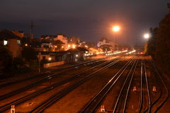 Railroad. Station at night Ivano-Frankivsk city Royalty Free Stock Images