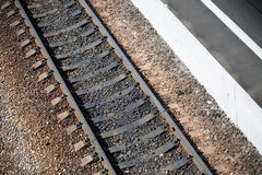 Railroad with station platform stock images