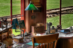 Railroad Station Radio/Telegraph Station. Historic workplace inside train station Stock Photo