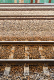 Railroad station, railroad tracks and a cargo platform for train Royalty Free Stock Photography
