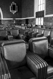 Railroad Station Seating - retro. 1930's to 1940's style seating in the waiting area of Union Station stock image