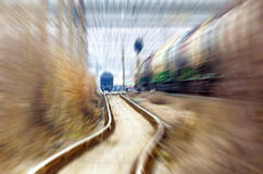Railroad station speed rail trip.  Royalty Free Stock Image