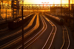 Railroad station at sunset Royalty Free Stock Photo