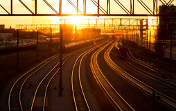 Railroad station at sunset Royalty Free Stock Photography