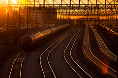 Railroad station at sunset Royalty Free Stock Image