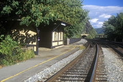 Railroad station and tracks in Harpers Ferry, WV Stock Photography