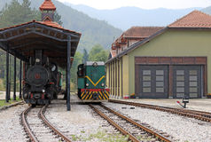 Railroad station with trains Stock Images