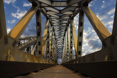 Railroad steel bridge. With clouds on background Royalty Free Stock Photo