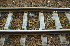 Railroad,steel. Railroad on the ground in perspective line Royalty Free Stock Photography