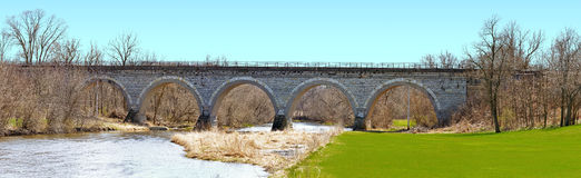 Railroad stone arch bridge Royalty Free Stock Photos