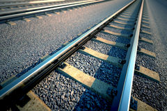 Railroad straight track. Royalty Free Stock Photography