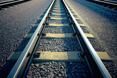 Railroad straight track. Stock Photos