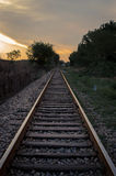 Railroad at sunrise Royalty Free Stock Photo