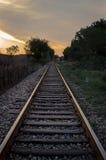 Railroad at sunrise Royalty Free Stock Photo