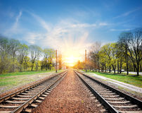 Railroad at sunrise Royalty Free Stock Images