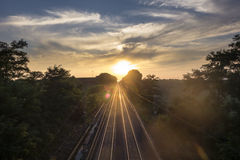 Railroad Sunset stock photo