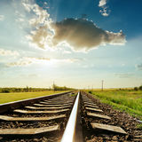 Railroad and sunset in clouds Royalty Free Stock Images