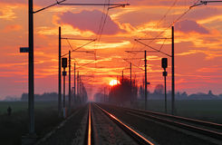 Railroad at sunset Royalty Free Stock Photo