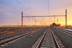 Railroad at sunset Royalty Free Stock Photography