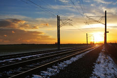 Railroad at sunset Royalty Free Stock Images