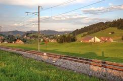 Railroad in swiss Alps Stock Photo