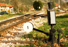 Railroad switch of Diakofto-Kalavrita railway. Railroad switch with its lever of famous Diakofto-Kalavrita railway, a historic 750 mm gauge rack railway. Photo Royalty Free Stock Photo