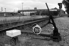 Railroad switch in the Port of Antwerp Stock Images