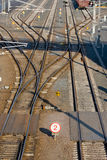 Railroad switches. In the industrial area Stock Photos