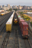 Railroad Switching Yards Rails Cars Boxcars Engine Locomotive Royalty Free Stock Images