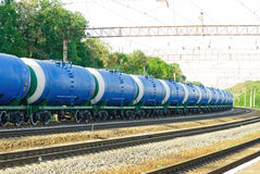 Railroad tank car with olil Royalty Free Stock Images