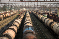 Railroad tank cars and cargo wagons Stock Image